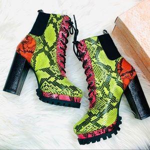 Multi snake heeled boot